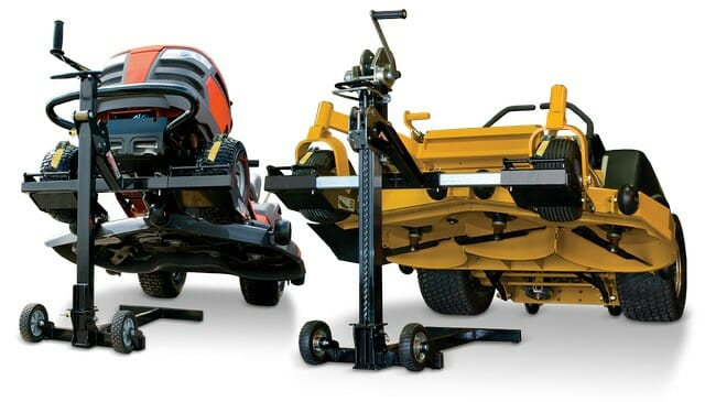 Use a mower lift jack with the correct weight lifting capacity for your riding lawn mower maintenance